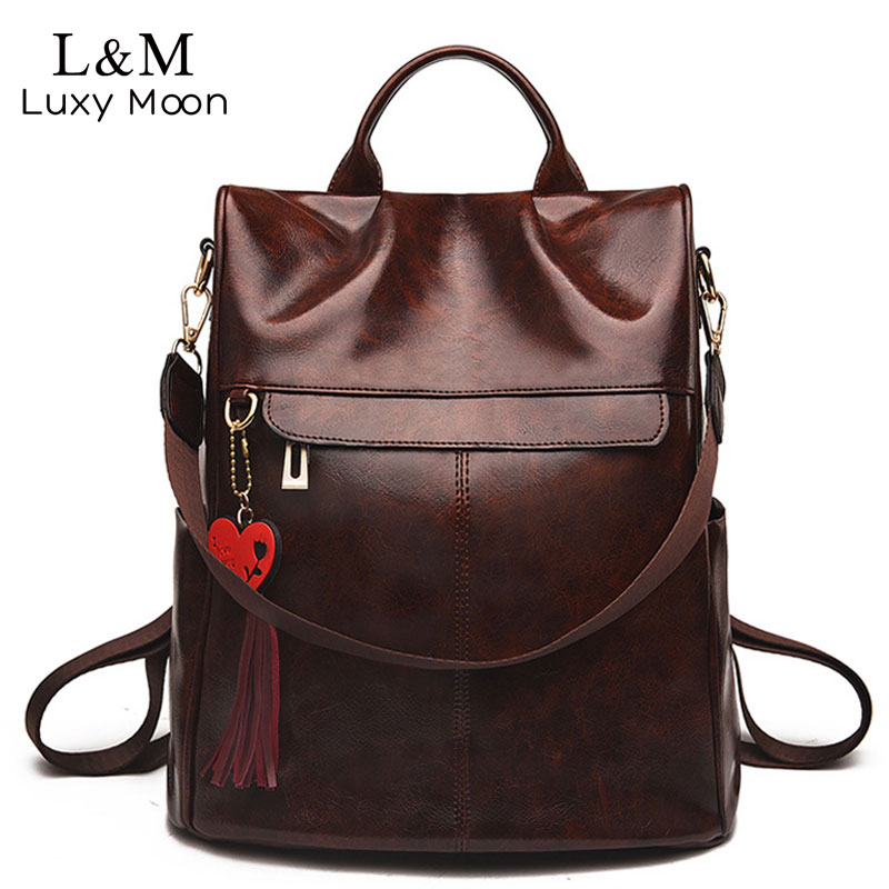 Vintage Leather Backpack For Women Softback Zipper Rucksack Casual Backpacks Simple Female Travel Shoulder Bag Mochila XA318H