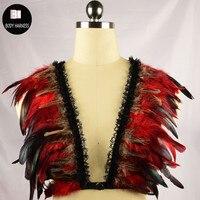 Wings Bondage Khai Thác Đôi Cánh Lông Vũ Lồng Áo Ngực Gypsy Đồ Lót Sexy Rave Body Cage Crop Top Ren Nịt Với Feather CƠ THỂ KHAI THÁC