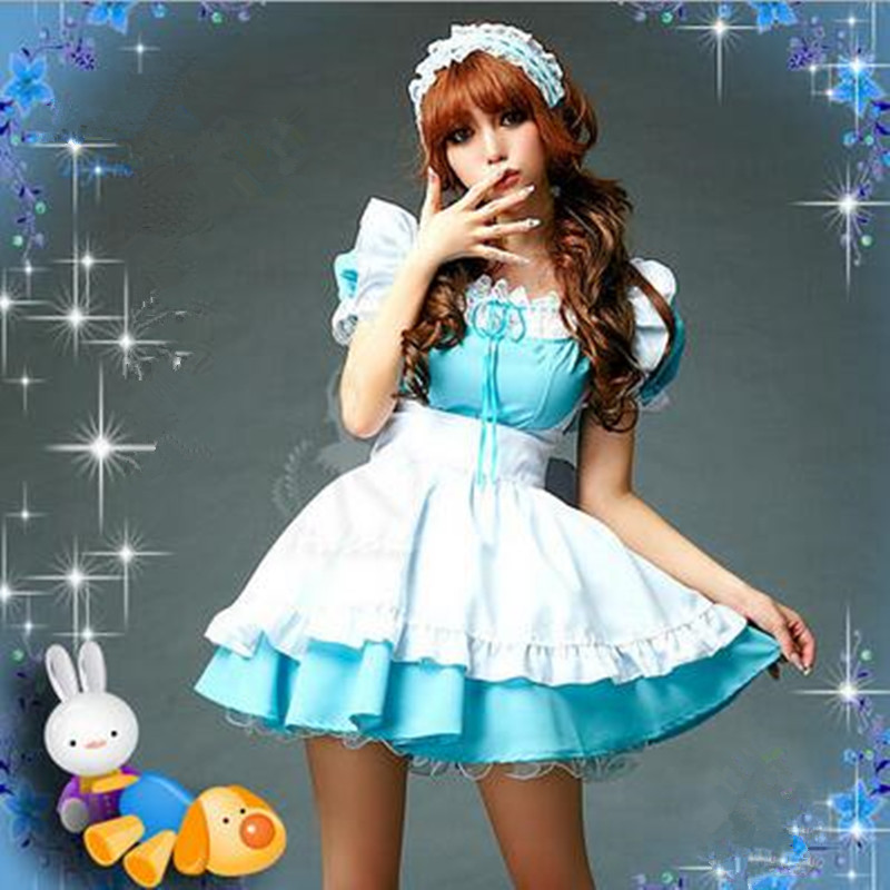 2017 Anime Alice In Wonderland Cosplay Costumes Blue Short Sleeve Gothic Lolita Dress Christmas Fairy Tale Dress Maid Costume