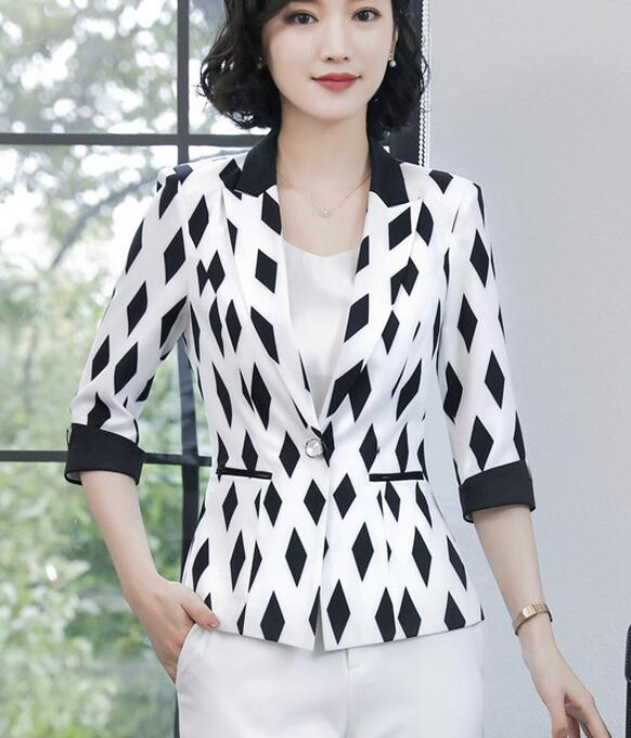 1e805a2f0a4 ... Autumn New Arrival Leisure Plus Size S XXXXL OL Style Diamond Paid Half  Sleeve Woman Business Suit Coat-in Blazers from Women s Clothing    Accessories