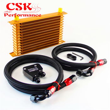 13 Row 262mm AN10 Trust Oil Cooler Kit+Male Sandwich Plate Adapter Fits For LS1 LS2 LS3 VT VX VY VZ VE 5.7L Black/Blue/Gold