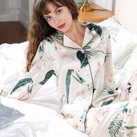 Свежей зеленью 100% чистого шелка пижамные комплекты женские пикантные благородные цифровой живописи Длинные рукава элегантность Подлинная