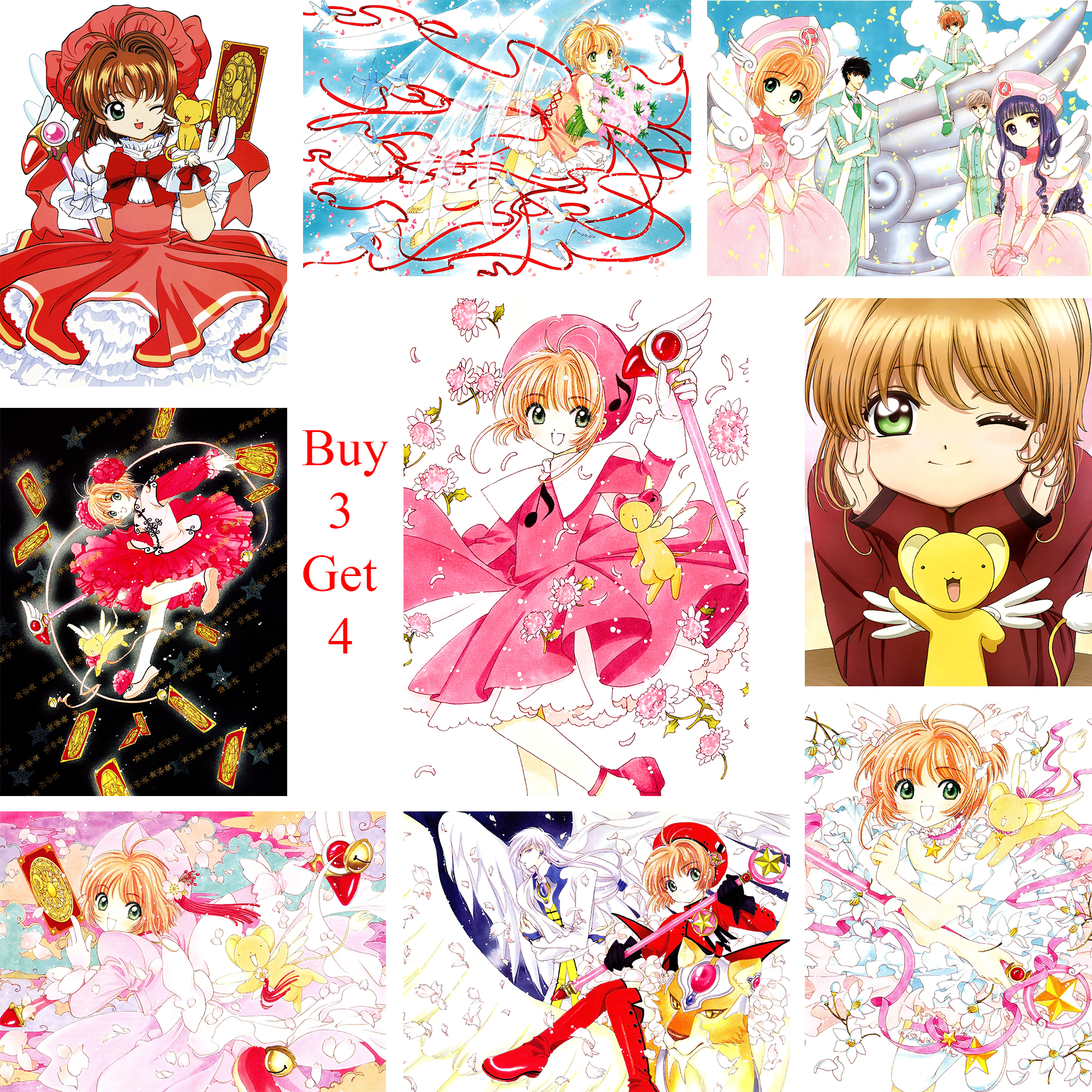 Card Captor Sakura Posters Cartoon Wall Stickers White Coated