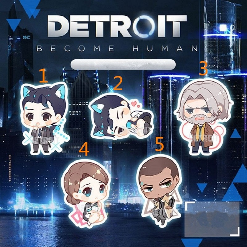 Game Detroit: Become Human Connor Keychain Cosplay Accessories Acrylic Figure Keyring Car Keychain Lobster Buckle
