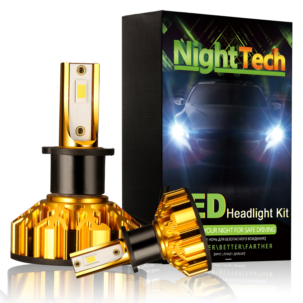 NightTech h7 led lamp for auto hb4 h4 h1 led h11 9005 led bulb 12v light bulbs for auto lamp 72W 8000LM 6000K car Headlight v10