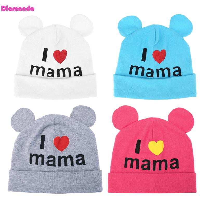 Winter Baby Knitted Hats Cute Soft Boy Girl Cotton Kids Ear Beanie Caps Newborn Baby I Love Mama Printed Caps Lovely Knitted Hat