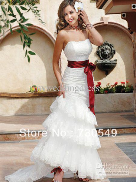 203f7dbc0d Wholesale - Mermaid White Strapless Layered Lace Organza Applique Red  Ribbon Wedding Dresses Line Bridal Gowns