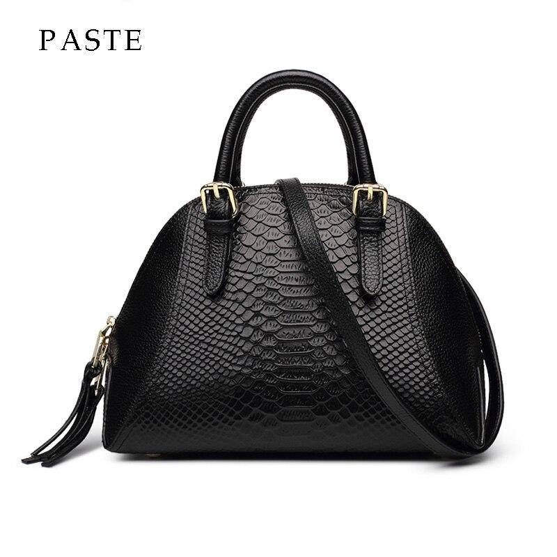 2018 Winter New Serpentine Genuine Leather Women s Handbag Luxury High Quality Ladies Handbag Classical Shell