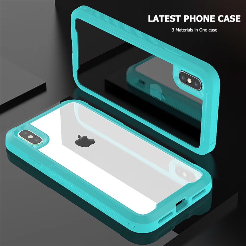 Transparent Frame Hard Phone Case For iPhone 6 7 8 Plus XS MAX XR X Tempered Glass Soft Bumper PU Cover For iPhone 6s Slim Shell image