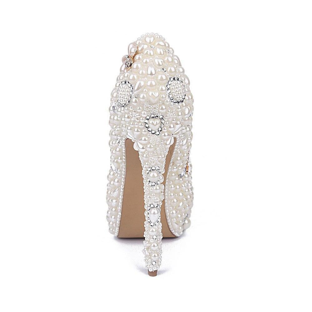 MA0435 di Nuovo Modo Bianco Perla di Acqua di Fiori di Diamanti Bianco Ultra Tacchi alti Impermeabile Damigelle Scarpe Da Donna Pompe - 4
