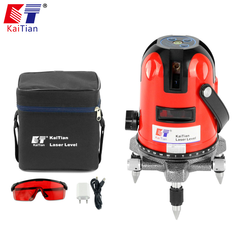 KaiTian Laser Level 360 Rotary Self Lleveling Slash Function Outdoor EU 635nm Corss 5 Lines Vertical Horizontal Lasers Tools quality mtian level laser 5 lines 6 points instrument levels 360 self rotary 635nm corss line lazer level tools fast delivery