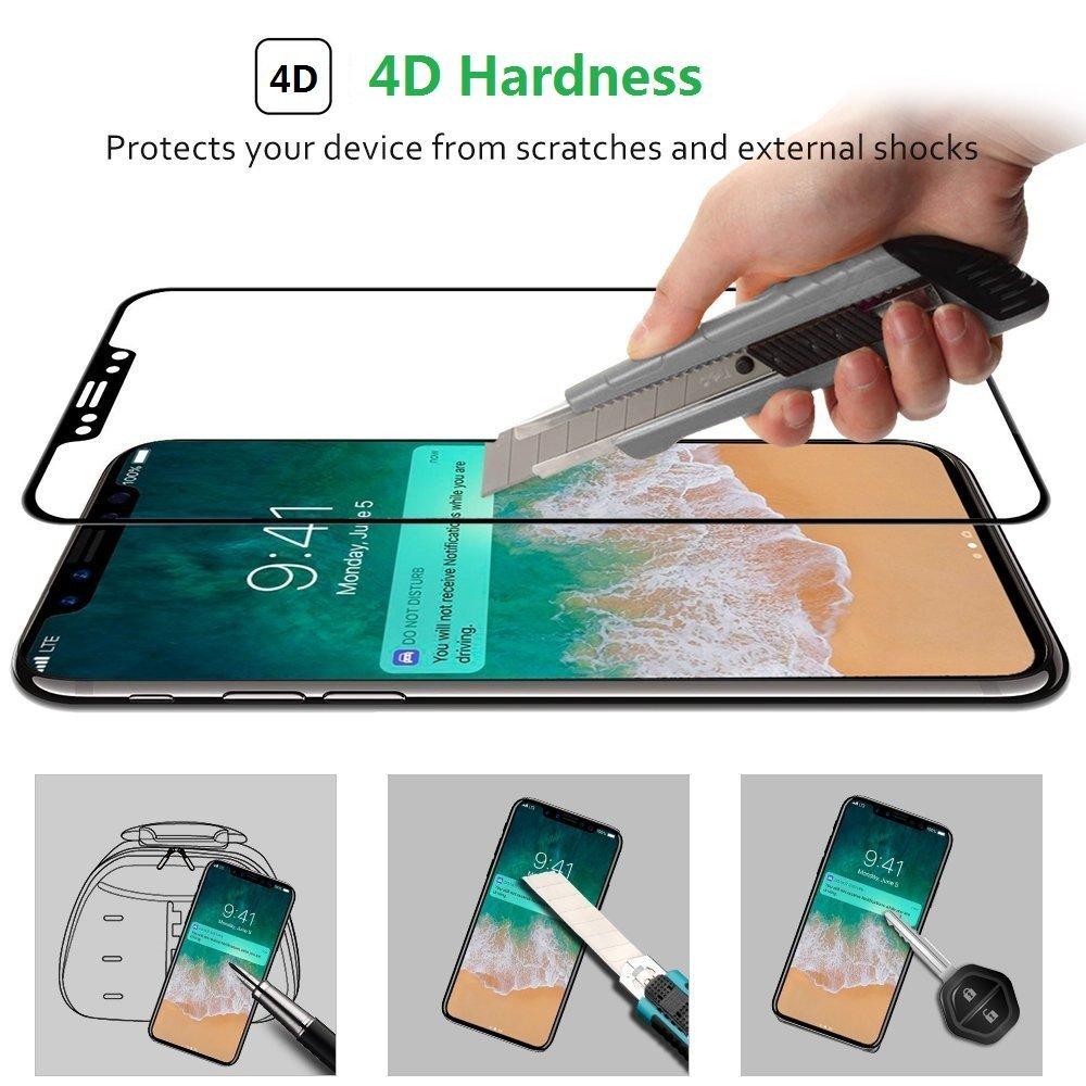 För Apple iPhone X 10 Skärmskydd härdat glas Hel täckning 3D 4D - Reservdelar och tillbehör för mobiltelefoner - Foto 3