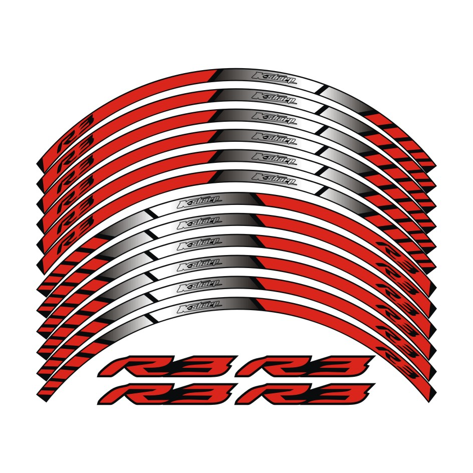 K sharp for yamaha yzf r3 motorcycle wheel decals reflective stickers rim stripes yzf r3 motorbike r3 3color