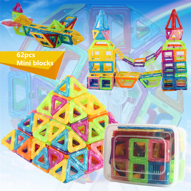 62pcs/Set Mini Magnetic Designer Educational Building Blocks Plastic Assemble Enlighten Bricks Gift Toys For Children With Box 62pcs set magnetic building block 3d blocks diy kids toys educational model building kits magnetic bricks toy