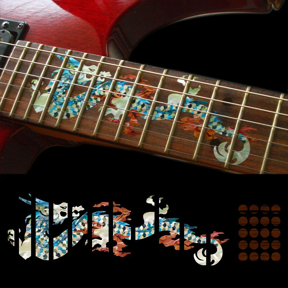 Fretboard Markers Inlay Sticker Decals for Guitar - Dragon guitar or bass tree of life fretboard silver color inlay ultra thin sticker