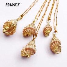 867aac9337e7 WT-JN021 venta al por mayor collar de concha natural genuino mar shell  trompeta colgantes con chapado en oro para hacer mujeres