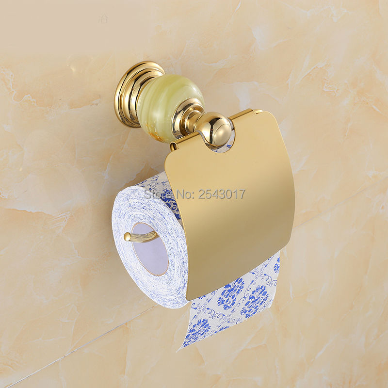 Hotel Toilet Roll Paper Holder Tissue Box Luxury Jade Golden Finished Wall Mounted Roll Tissue Holder Waterproof ZR2315 space aluminum paper holder roll tissue holder hotel works toilet roll paper tissue holder box waterproof design