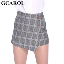 305c54817e GCAROL nueva colección estilo Inglaterra Plaid pantalones cortos de falda  asimétrica longitud glúteos diseño Otoño Invierno Vint.