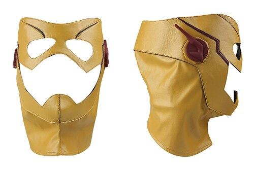 Kid Flash Wally West Mask The Flash Season 3 Headpiece Mask Kid Flash Hat Halloween Accessories Leather Mask Yellow Custom Made