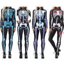 Женский винтажный скелет Роза пугающий костюм с принтом черный обтягивающий комбинезон боди костюм для костюмированой Вечеринки На Хэллоуин эластичный наряд Femme COS