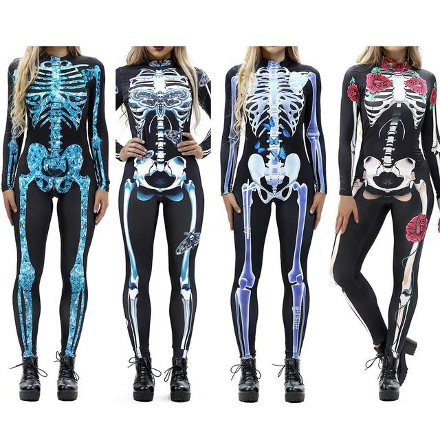 a0ca37c6772 Women Vintage Skeleton Rose Print Scary Costume Black Skinny Jumpsuit  Bodysuit Halloween Cosplay Suit Stretchy Outfit