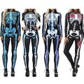 Women Vintage Skeleton Rose Print Scary Costume Black Skinny Jumpsuit Bodysuit Halloween Cosplay Suit Stretchy Outfit Femme COS