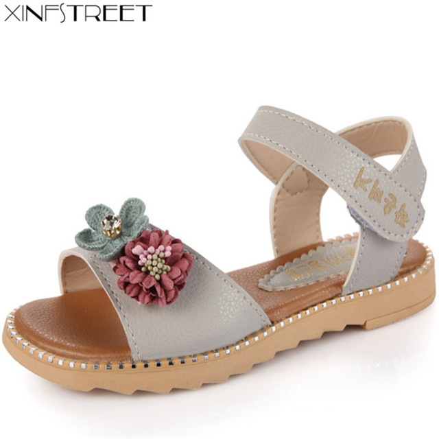 21748db972ab3b Xinfstreet Brand Children s Shoes Summer Princess Sandals Kids Girls  Wedding Sandals Peep-toe Leather Flower