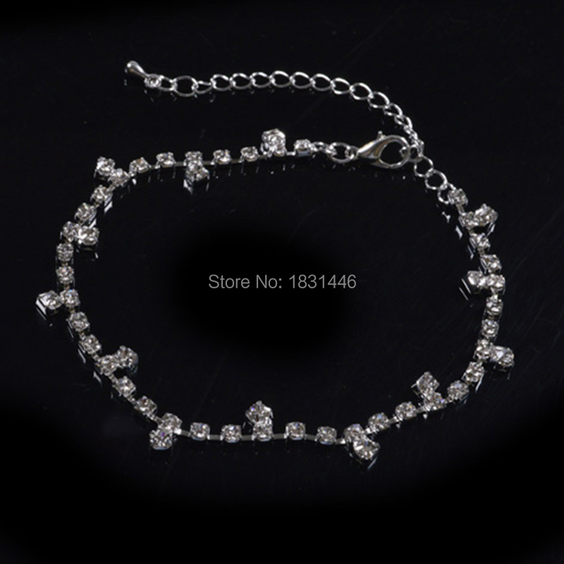 Wedding Accessories Charm Amethyst Foot Jewelry Barefoot Sandals Sliver Ankle Bracelet Leg Anklet Crystal Anklets For