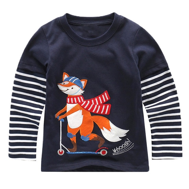 Boys' Long Sleeved Cotton T-Shirt with O-Neck