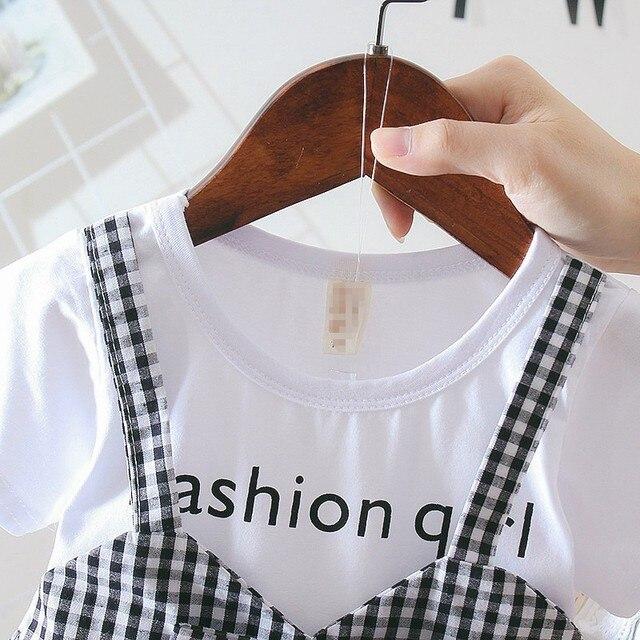 Lato ubranie dla dziewczynki 0-3Y na co dzień maluch noworodka dziewczynek sukienka Plaid imitacja dwuczęściowej Party sukienka urodzinowa dla dziewczynek