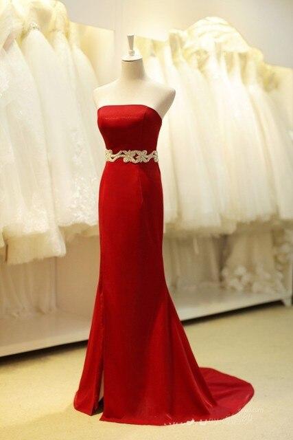 Elegant Sleeveless Red Mermaid Evening Dresses Cheap Satin Pleated Dress  Under  100 Long Vestido Longo Vermelho Vestido Noche 1b4f6664cac2