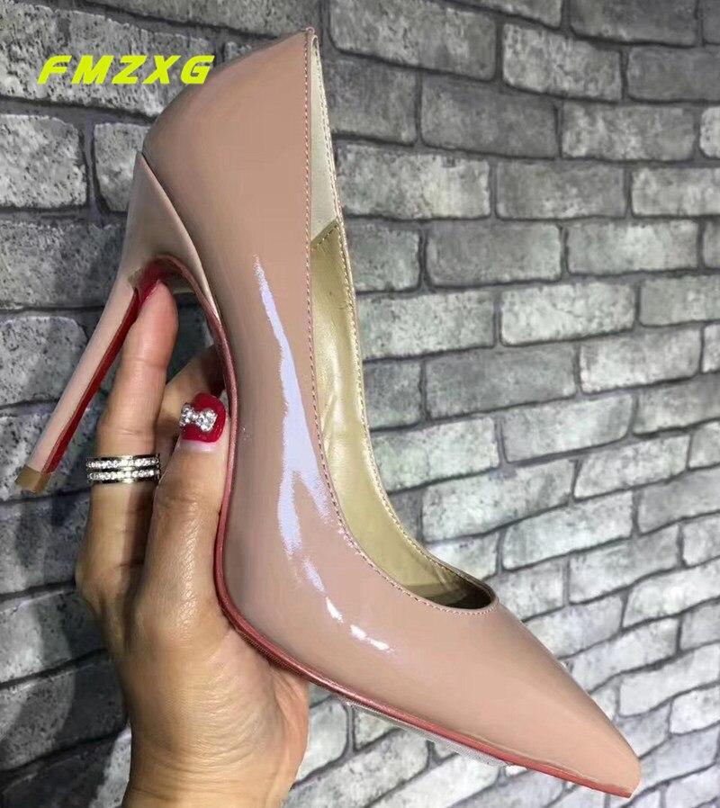 FMZXG пикантные Для женщин вечерние на высоком каблуке zapatos mujer женские туфли лодочки натуральная Лакированная кожа модные Элитный бренд обув