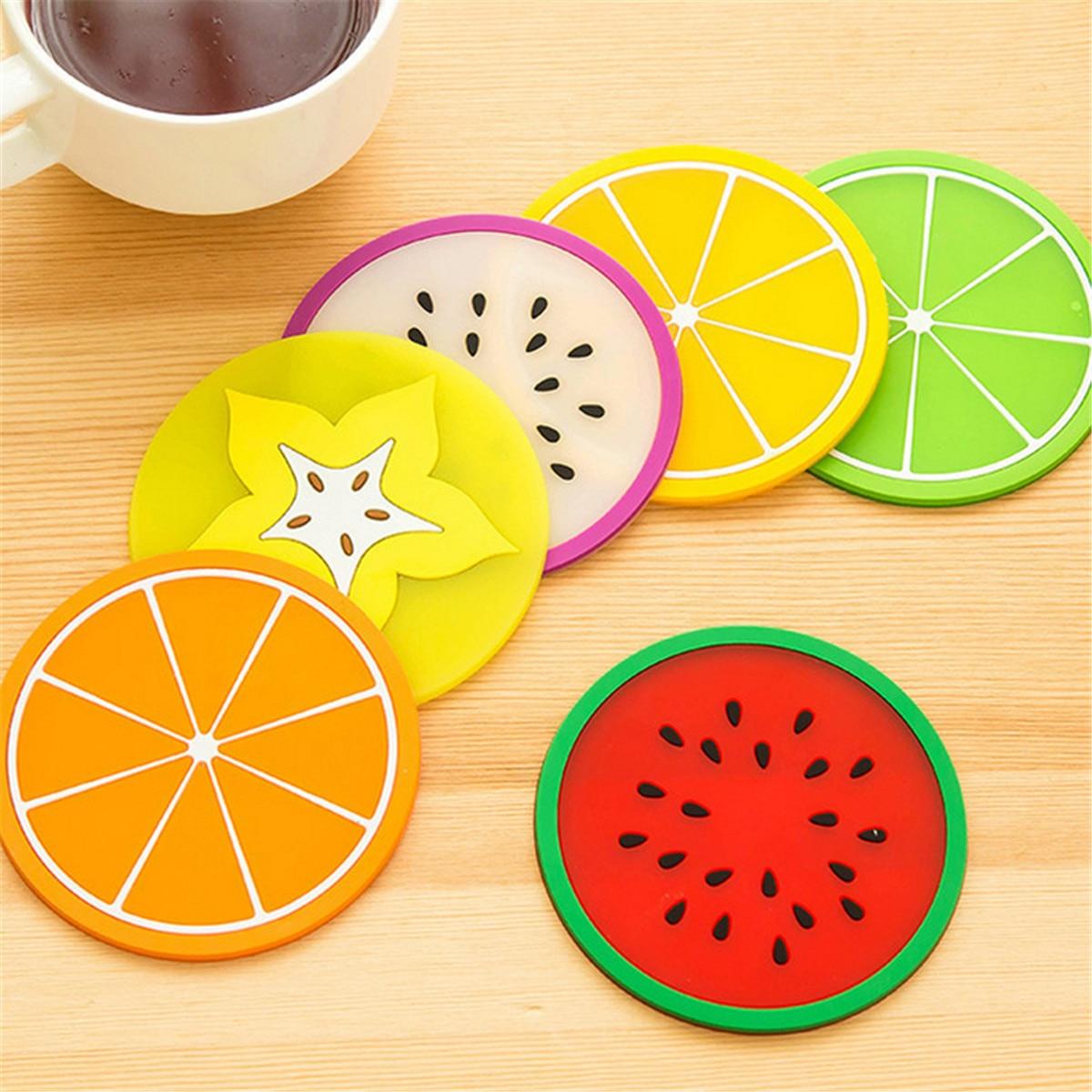 6Pcs Random Color Cute Fruits Coaster Novelty Cup Cushion Holder Mat Home Dining Room Table