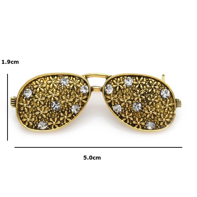 Wuli&baby Vintage Flower Glasses Brooch Pins Cute Sparkling Rhinestone Sunglass Bouquet Retro Puck Aceesorries 2019 New Design