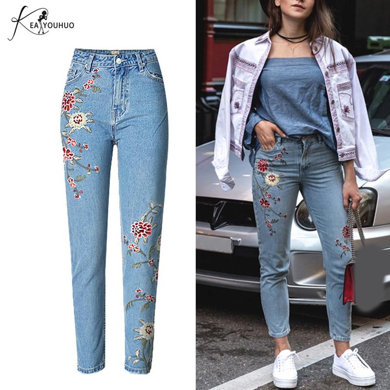 Heißer sommer 2018 mit hoher taille boyfriend jeans stickerei blumen - Damenbekleidung