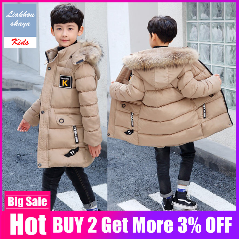 2019 New Russia Children Boys Winter Jackets Thickening Warm Down Jackets Long Big Fur Hooded Outerwear Kids -30 Coats Degrees(China)