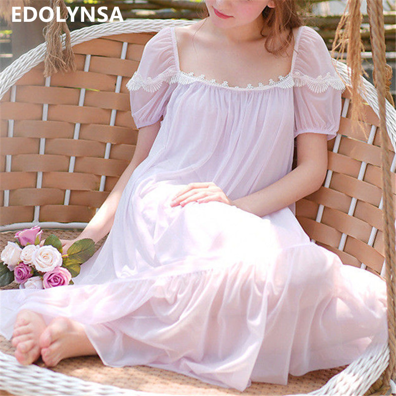 Cute 2018 Women Babydoll Sleepwear Nightwear Lace Chemise White Dress Cotton lingerie Sexy Babydoll Nursing Nightdress Long T175