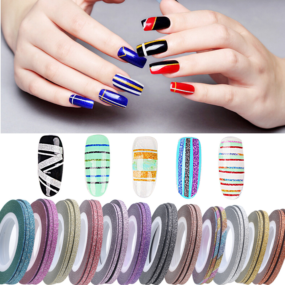 Aliexpress 1 Roll 3mm Glitter Scrub Nail Art Striping Tape Line Sticker Tips Decorations Diy Self Adhesive Decal Tools Manicure 10 Colors From