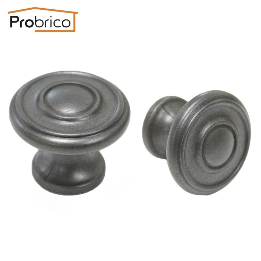 probrico 10 pcs furniture drawer knobs ps86305daem zinc alloy antique black kitchen cabinet handles wardrobe cupboard - Kitchen Knobs