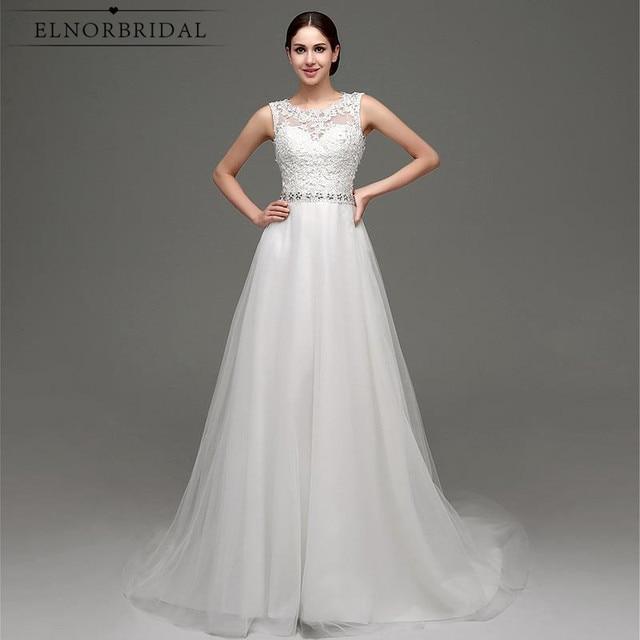 Modest Beach Wedding Dress Plus Size 2017 Vestito Sposa Sheer A Line ...