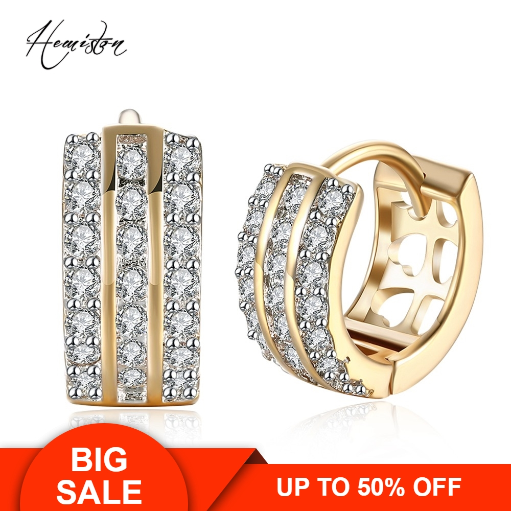Wide Three Lows Paved Clear CZ Creole Earring, Yellow Gold Plated European Romantic Jewelry Gift For Women TF 142E
