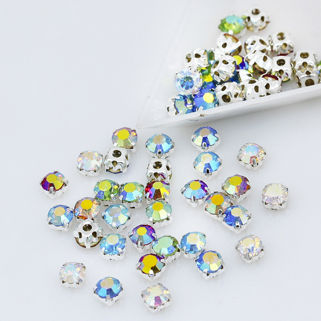 3mm 4mm 5mm 6mm color AB Sew on Glass Crystal flatback Cup rhinestone  montees silver base 1ad228b2b119