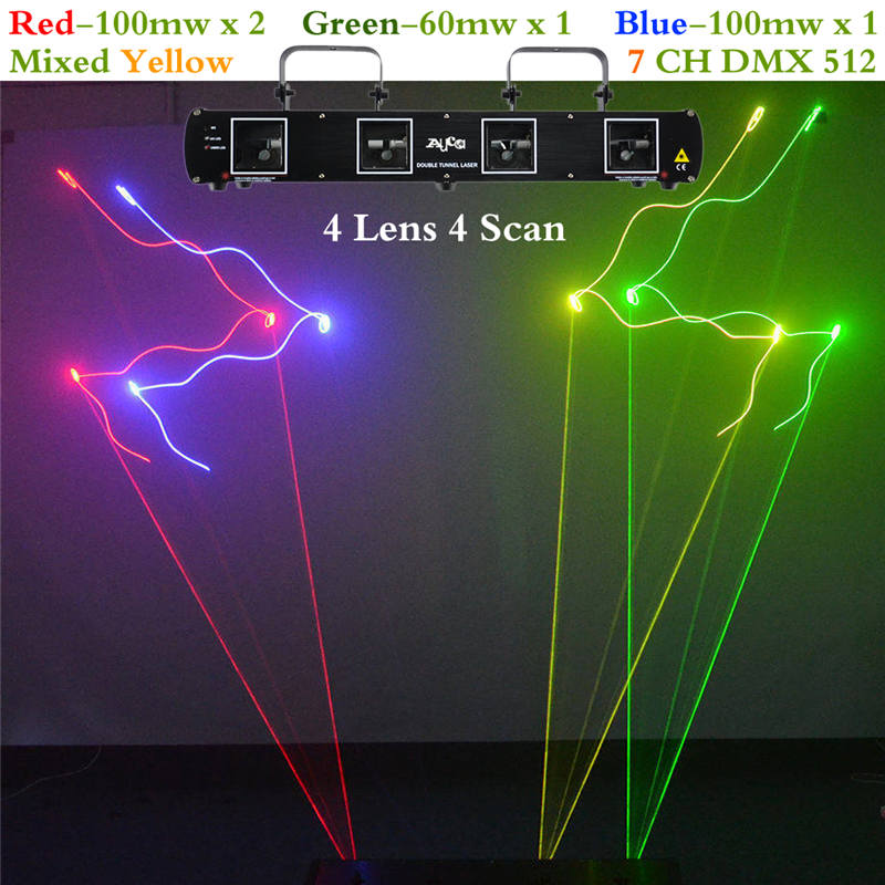 AUCD 4 Lens RGBY Laser 7CH DMX DPSS Scanner Equipment Stage Lighting Projector DJ Party Disco Show Professional Lights DL55C+ цена