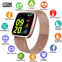Neueste 1,3 Zoll TFT Square Screen Smart Uhr Männer Relogio Digitale Rose Gold Smartwatch Frau Sport Uhr Bluetooth iOS ANDROID(China)