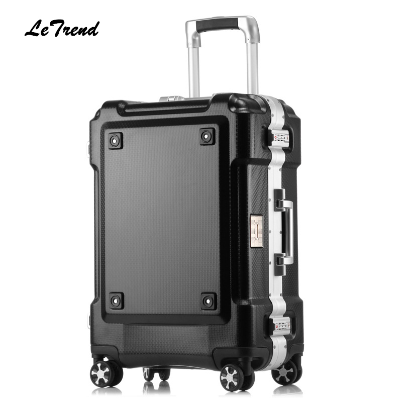 Letrend Nyt 24 29-tommer rullende bagage Aluminum Frame Trolley Solid Travel Bag 20 'Women Boarding Bag Carry On Suitcases Trunk