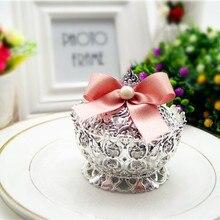 Размер L серебряные пластиковые подарочные коробки для вечеринок в форме короны с бантом, 20 шт./лот, BY18073003