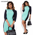 Cocoepps l-6xl más tamaño vestidos patchwork 2017 verano otoño elegante casual mujeres dress tallas grandes o-cuello de bodycon oficina dress