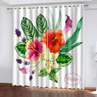 Nordic Plant Series Printing Curtains Living Room Bedroom Blackout Curtains 23.955