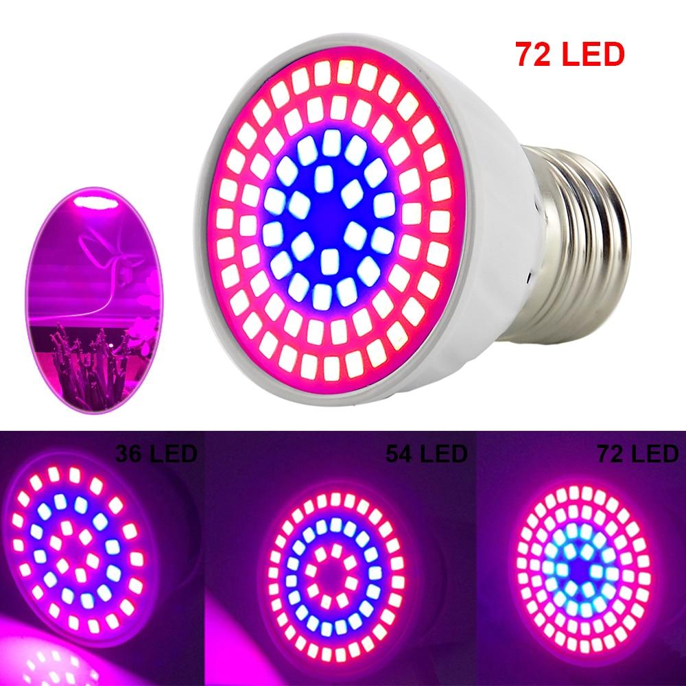 House Plant Grow Light: 36 54 72 LED Grow Light E27 Plant Growing Lights Bulb Lamp