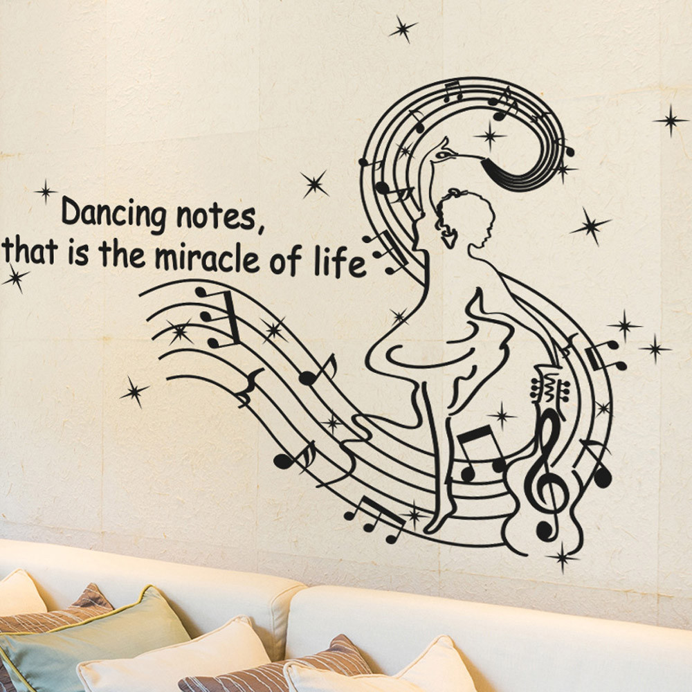Wallpaper Sticker Dancing Musical Notes Stickers Decorative Creative Removable Wall Stickers Wallpapers For Living Room 2018 B#